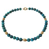 """Turquoise Bead Necklace w/ 14K Beads & Clasp  18"""" Long"""