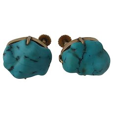 Mid 1900s Chinese 14K Turquoise Nuggets Earrings Screwback