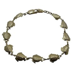 14K Sea Turtles Link Bracelet 7 3/8""