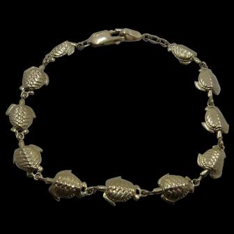"14K Sea Turtles Link Bracelet 7 3/8"""