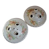 Pair 1930s Porcelain Ceiling 3-Light Fixtures Flush Mount 10.5""