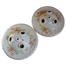 """Pair 1930s Porcelain Ceiling 3-Light Fixtures Flush Mount 10.5"""""""