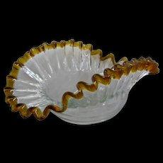 Victorian Blown Glass Bowl Crimped Ruffled Clear w/ Amber Edge
