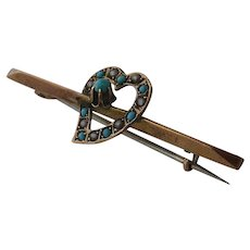 Victorian 9 K Gold Turquoise & Pearl Heart Bar pin Brooch