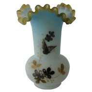 Ca 1890 Victorian Art Glass Vase w/ Butterfly Flowers Decoration