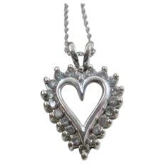 "10K White Gold Diamonds Heart Necklace 18.5"""