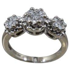 10K WG Ring w/ 3 Big Diamond Flower Clusters  Sz 8 1/2