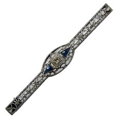 Deco 10K WG Sapphires Filigree Bar Pin