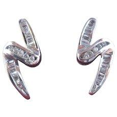 Flashy 14K WG Lightning Bolt Earrings w/ Diamonds .6 TCW