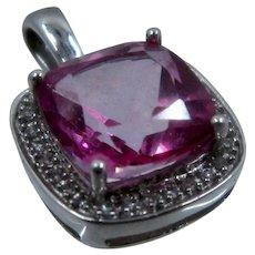 10K White Gold Synthetic Pink Sapphire Diamond Halo Pendant