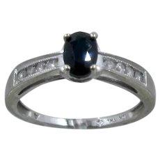 10K WG Sapphire & Channel Set Diamonds Ring Samuel Aaron Sz 7