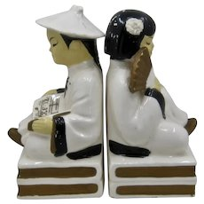 960s Japanese Boy & Girl Ceramic Bookends Wales