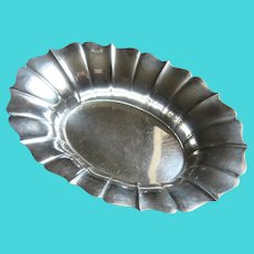 Wallace Sterling Fluted Oval Candy Dish Serving Bowl