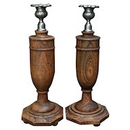 Pair Turned Oak Wood & Pewter Candlesticks Early 1900s English