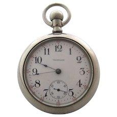 1903 Waltham Pocket Watch Sz 18 17 Jewels Open Face Silverode