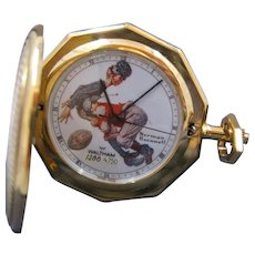 """Waltham Pocket Watch """"Tackled"""" by Norman Rockwell 1980s"""