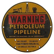 Porcelain Warning Sign Petroleum Pipeline Los Angeles California