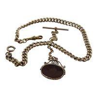 Antique Gold Filled Albert Watch Chain w/Carnelian Intaglio Fob Hermes