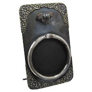 Ca 1900 Watch Holder Stand Silver Plated Crab Hook Easel Style