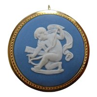 1970s Van Dell Wedgwood Blue Jasperware Cupid PIn Pendant