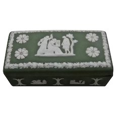 Wedgwood Green Jasperware Stamp Box