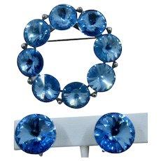 1960s Weiss Blue Rivoli Pin & Earrings Set