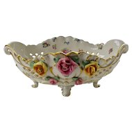 Wessel Germany Porcelain Footed Centerpiece Bowl w' Applied Roses Mid 1900s