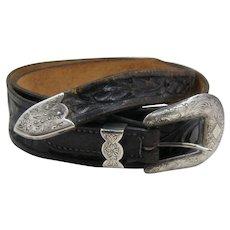 """Vintage Western Sterling Buckle Set on Cowhide Belt 26-28"""""""