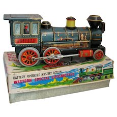 1960s Japan Tin Western Special Locomotive Battery Operated in Box Works Well