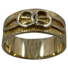Wide 14K Wedding Band Infinity Sign Encircled Rings Sz 6 1/2