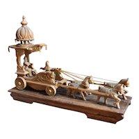 Carved Wood Kurukshetra Chariot w/ Arjuna & Krishna