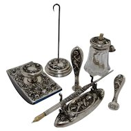 Woodside Cupid & Roses Repousse Sterling 7 Piece Writing Desk Set Ca 1900