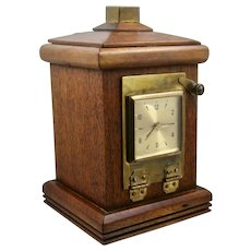 Vintage Oak Bank W/ Clock Brass Trim