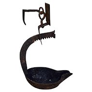Ca 1800 Wrought Iron Betty Whale Oil Lamp
