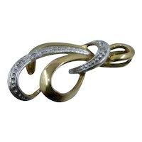 8K White & Yellow Gold w/ Diamonds Ribbon Loops Pendant