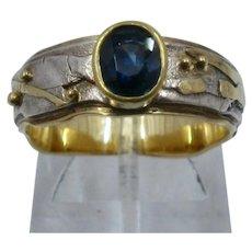 Artist Made 18K Y & W Gold Modernist Ring w/ Sapphire .65 Carat