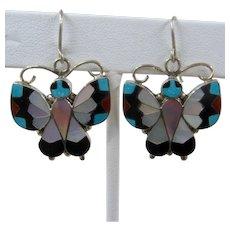 Zuni Sterling Inlay Butterfly Earrings Dangle