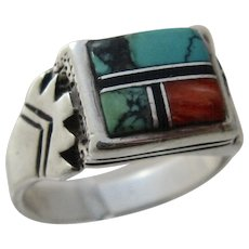 Vintage Navajo/Zuni Sterling Multi Stone Inlay Ring Sz 11 1/4