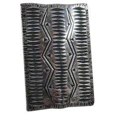 Harlan Coonsis Sterling Zuni Rug Pin Incised Pattern