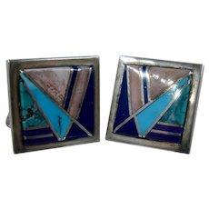 Zuni Sterling Silver Stone Inlay Cufflinks