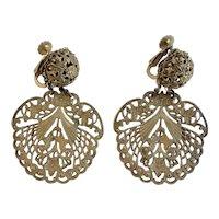 Miriam Haskell Early 1960s Filigree Dangle Earrings
