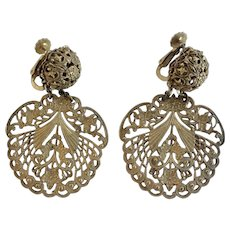 Miriam Haskell Early 1960s Filigree Dangle Earrings