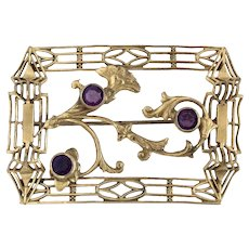 Vintage Large Art Nouveau Brass and Purple Glass Sash Pin Brooch