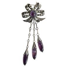 Taxco 980 Silver Bow Pin with Amethyst Dangles, Book Piece, c. 1945