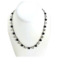 Art Deco Sterling Black and Clear Crystal Necklace