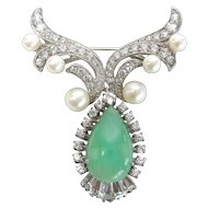 Sterling Chrysoprase, Cultured Pearl and Cubic Zirconia Pin
