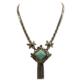 Peking Glass Necklace with Dangling Foxtail Tassels