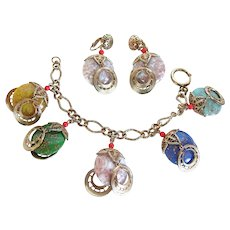 Vintage Venetian  Glass Charm Bracelet and Earring Set