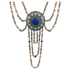 1960-1970 Moroccan Style Festoon Necklace with Chains
