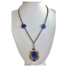 Czech Blue Lapis Glass Filigree Pendant Necklace